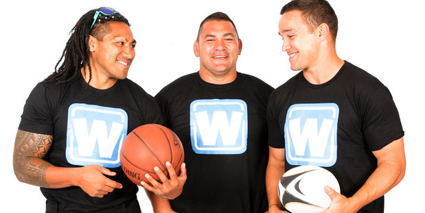Ma'a Nonu, Kees Meeuws and Tamati Ellison's new sports app lets users enter and follow live scoring of grassroots level sports games from anywhere in the world. Photo / Supplied