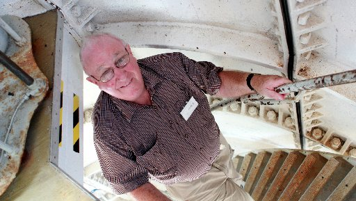 100th birthday of the Castlepoint Lighthouse reunion of Former Lighthouse Keepers on Saturday morning. Grant Hinchcliff, Castlepoint's last Lighthouse Keeper walking up the stairs inside the lighthouse.
