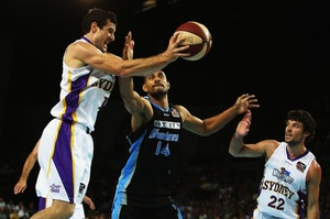 Mika Vukona attempts to gain possession in the New Zealand Breakers' opening playoff game against the Sydney Kings. Photo / Getty Images