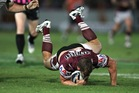 Brenton Lawrence of the Sea Eagles dives with the ball. Photo / Getty Images