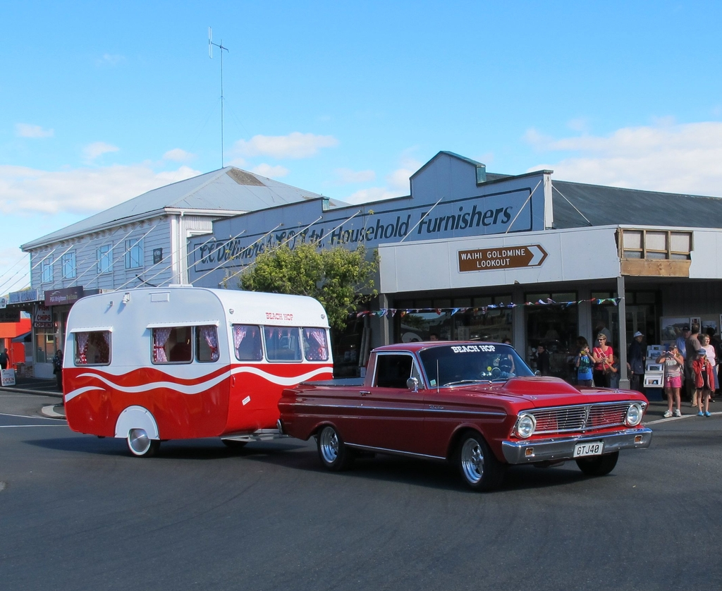 Sony Beach Hop prize - caravan and car at the Waihi Warm Up Party. Photo: Waihi Leader.