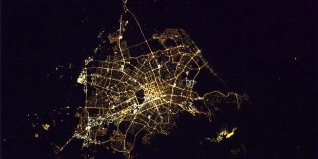 Christchurch's city centre as viewed from space just after Earth Hour concluded last night. Photo / Chris Hadfield/Twitter
