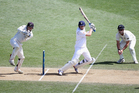 Joe Root of England plays the ball square during day three of the Third Test match between New Zealand and England. Photo / Getty Images.