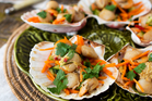 Scallops with crunchy thai salad. Photo / Babiche Martens