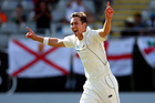 Trent Boult celebrates his 6th wicket, England's James Anderson, yesterday. Photo / Getty Images
