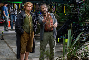 Sir Peter Jackson chats with Martin Freeman, who plays Bilbo Baggins. Photo / Supplied