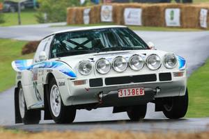 Rhys Millen campaigns his Mazda RX7 Group B Rally car at the Leadfoot festival. Photo / Alastair Ritchie