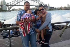 Fala Sakaria and his wife, Lafoaluga, with their children Lucas and Maryanne-Felesa, say the pay is good and living costs cheaper in Australia. Photo / Supplied