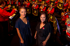 Ria Hall and Anika Moa with the full NZ Army band. Photo / Brett Phibbs