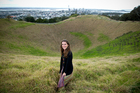 Volcanologist Dr Jan Lindsay in the crater of Mt Eden. Photo / Dean Purcell