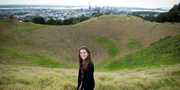 Loading Volcanologist Dr Jan Lindsay in the crater of Mt Eden. Photo / Dean Purcell