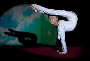 Feifei Deng, 11, practising her contortion routine at the Zirka Circus yesterday morning.  Photo / Sarah Ivey