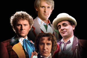 Clockwise from left: Colin Baker, Peter Davison, Sylvester McCoy and Paul McGann. Photo / Supplied
