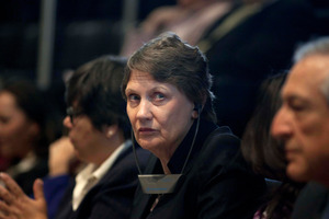 United Nations Development Program Administrator Helen Clark will speak today. Photo / AP
