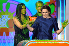 Kristen Stewart accepts the award for favourite movie actress for 'The Twilight Saga: Breaking Dawn Part 2' at the Nickelodeon's Kids' Choice Awards. Photo / AP