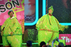Host Josh Duhamel and Nick Cannon get slimed at the Nickelodeon's Kids' Choice Awards. Photo / AP