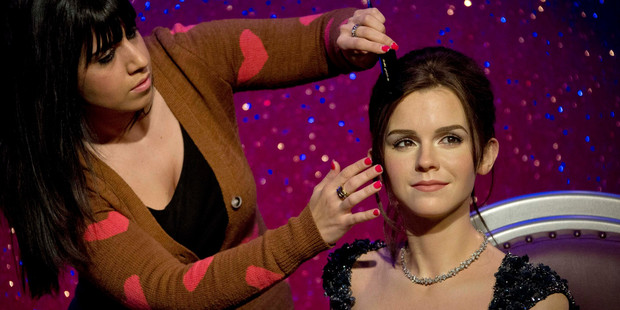 The new wax figure of Emma Watson is now being shown at Madame Tussauds in central London. Photo / AP