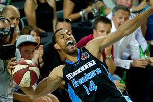 SkyCity Breakers Mika Vukona in action against the Perth Wildcats earlier in the season. Photo / Richard Robinson.