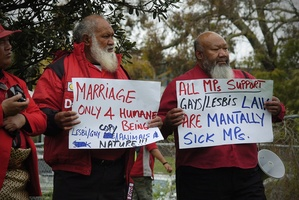 Gay marriage protesters spreading their message. Photo / Jason Dorday