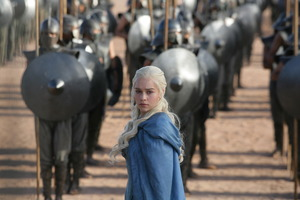 Emilia Clark continues her warlike intentions as Daenerys Targaryen in Game of Thrones. Photo / Supplied
