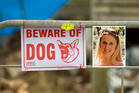 A sign at the property; and inset: Chloe Mathewson, who was fatally mauled. Photos / Michael Craig, Supplied