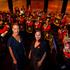 Ria Hall and Anika Moa with New Zealand Army band, before recording an ANZAC Day programme at Maori Television. Photo / Brett Phibbs