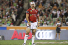 Jamie Soward of the Dragons reacts to an off side call from the kick off. Photo / Getty Images