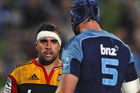 Liam Messam eyes down Ali Williams during last year's Super 15 encounter between the Chiefs and Blues. Photo / Getty Images