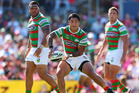 Issac Luke of the Rabbitohs passes the ball during the round three NRL match against the Penrith Panthers. Photo / Getty Images
