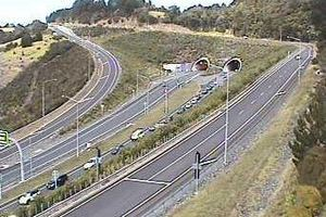 A view of the Johnstone Hill tunnels looking south. Photo / NZTA