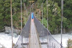 The 35-year-old bridge on the track to the Rob Roy Glacier in the Mt Aspiring National Park is due to be replaced next month. Photo / Mark Price