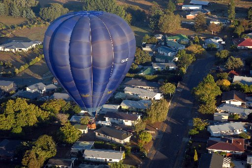 The 2013 Trust House Balloons Over Wairarapa 7am: Mass Ascension - Carrington Park, Carterton.  Taken from pilot Rob Noble's balloon.