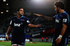 Piri Weepu celebrates with Rene Ranger after scoring a try during the round eight match between the Blues and the Highlanders. Photo / Getty Images