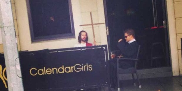 Jesus spreads the word in K Road on Good Friday. This must be the best B&B in the world. Photo / Supplied