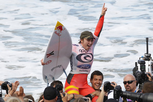Carissa Moore celebrates her win at Bells Beach, Victoria. Photo / Supplied