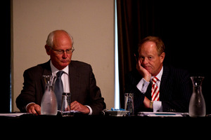 Brian Mayo-Smith (left) and Stephen Tubbs of BDO at the unsecured creditors' meeting in Ellerslie yesterday. Photo / Dean Purcell