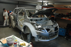 Emma Gilmour's new Suzuki Swift Maxi is being prepared for the 2013 rally season in Dunedin. Picture / David Thomson