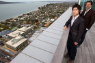 King Khoo with James Kellow at his penthouse apartment at the Sentinel in Takapuna. Photo / Greg Bowker