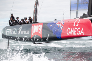 Team NZ face six weeks of nail-biting frustration as their boat travels to San Francisco.  Photo / Greg Bowker