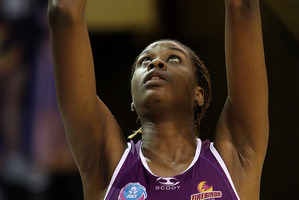 Firebirds super-shooter Romelda Aiken is a daunting opponent for the Mystics. Photo / Getty Images