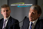 Bill English and Mighty River Power chief executive Doug Heffernan were on deck yesterday to talk about the offer document. Photo / Greg Bowker