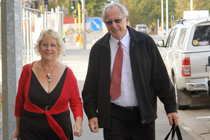 Matt and Valerie O'Loughlin arrive at the Christchurch High Court. Photo / Geoff Sloan