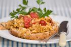 Tomato scramble eggs. Photo / Michael Craig