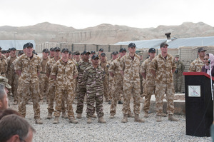 Provincial Governor Habiba Sarobi, at the podium, says Kiwi troops have changed the face of Bamiyan. Photo / NZ Defence Force