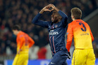 Blaise Matuidi's equaliser lifted Paris Saint-Germain to a draw but his suspension means he won't play the return leg. Photo / AP