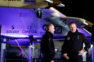 Bertrand Piccard, left, will share flying duties across the United States with Solar Impulse co-founder Andre Borschberg. Photo / AP