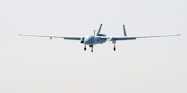 A Hartford drone, operated by the French Air Force, returns after a mission over Mali.  Photo / AP