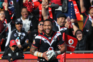 Warrior Manu Vatuvei is back on an extended bench for this weekend's game. Photo / Greg Bowker