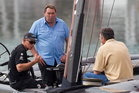 Steve Hansen hops aboard Team NZ's boat for a day out before it's packed up for San Francisco. Photo / Greg Bowker