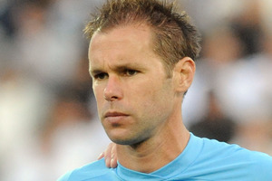 Goalkeeper Mark Paston was given the honour of captaining the side for the day in his final game. Photo / NZPA